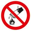 Знак P04 Запрещается тушить водой