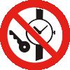 Знак P27 Запрещается иметь при (на) себе металлические предметы (часы и т.п.)